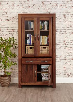 Mayan Walnut Large Glazed Bookcase Rustic image 3