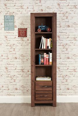 Mayan Walnut Narrow Bookcase Rustic Design image 3