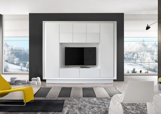 Luna Storage and TV Wall Unit - Matt White Finish
