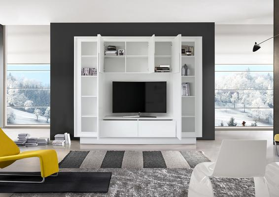 Luna Storage and TV Wall Unit - Matt White Finish image 2