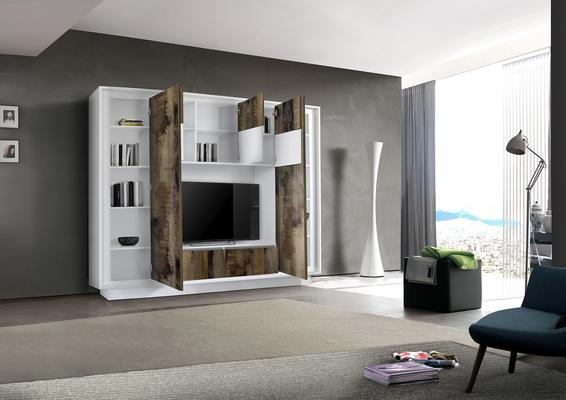 Luna Storage and TV Wall Unit - Matt White and Natural Finish image 2
