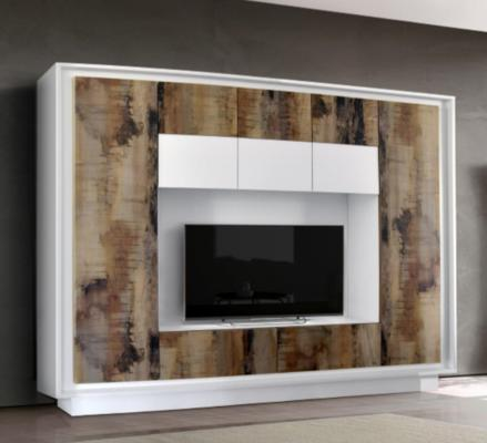 Luna Storage and TV Wall Unit - Matt White and Natural Finish