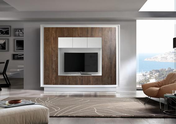 Luna Storage and TV Wall Unit - Matt White and Cognac Finish