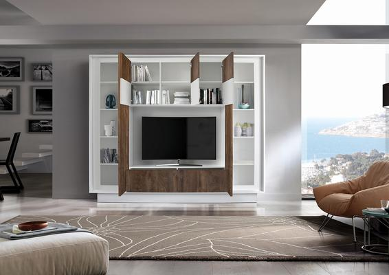 Luna Storage and TV Wall Unit - Matt White and Cognac Finish image 2