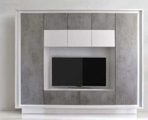 Luna Storage and TV Wall Unit - Matt White and Grey Finish