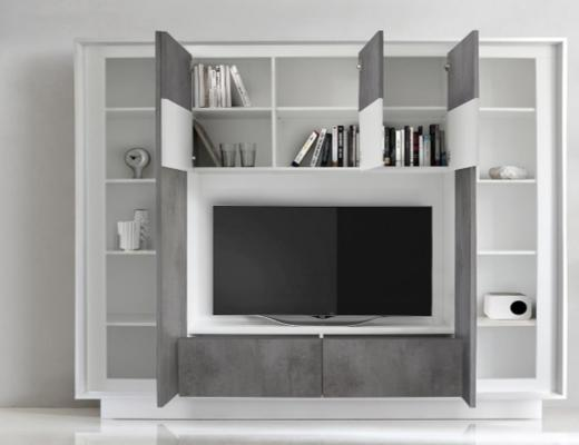 Luna Storage and TV Wall Unit - Matt White and Grey Finish image 2