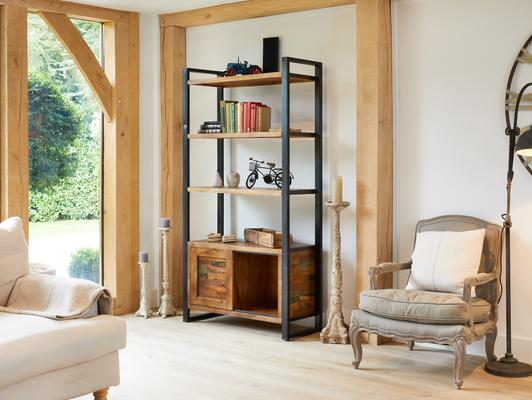 Urban Chic Reclaimed Large Bookcase with Storage image 2