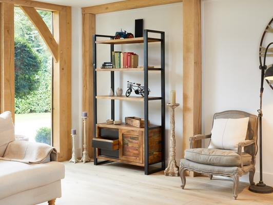 Urban Chic Reclaimed Large Bookcase with Storage image 3