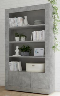 Como Two Door/Four Shelf Bookcase - Grey Finish
