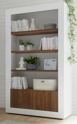 Como Two Door/Four Shelf Bookcase - Gloss White and Walnut Finish