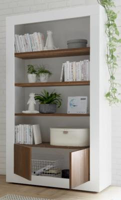 Como Two Door/Four Shelf Bookcase - Gloss White and Walnut Finish image 2
