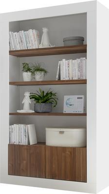 Como Two Door/Four Shelf Bookcase - Gloss White and Walnut Finish