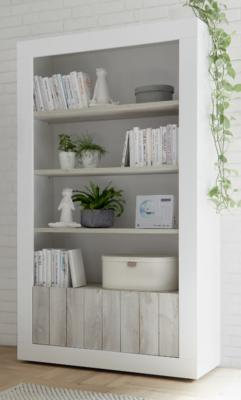 Como Two Door/Four Shelf Bookcase - White Gloss and White Pine Finish