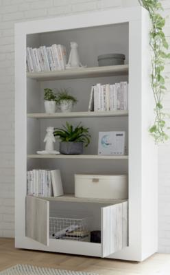 Como Two Door/Four Shelf Bookcase - White Gloss and White Pine Finish image 2