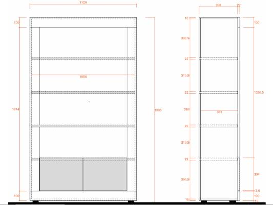 Como Two Door/Four Shelf Bookcase - White Gloss and Grey Finish image 3
