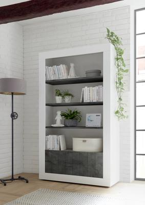 Como Two Door/Four Shelf Bookcase - White Gloss and Anthracite Finish