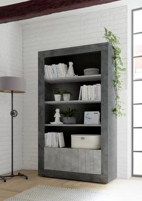 Como Two Door/Four Shelf Bookcase - Anthracite and Grey Finish