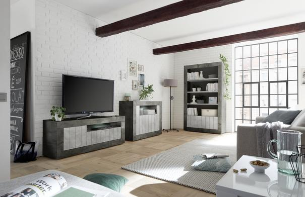 Como Two Door/Four Shelf Bookcase - Anthracite and Grey Finish image 3