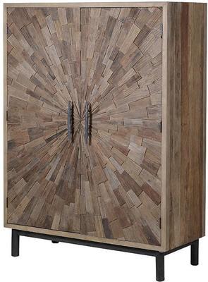 Elm Mosaic Textured Cabinet Two Door Four Shelf