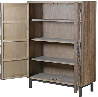 Elm Mosaic Textured Cabinet Two Door Four Shelf image 2