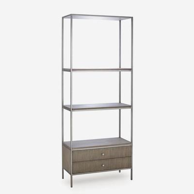 Rufus Silver Oak Bookcase with Nickel Steel Frame image 2