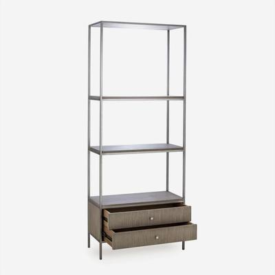 Rufus Silver Oak Bookcase with Nickel Steel Frame image 3