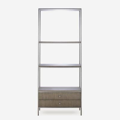 Rufus Silver Oak Bookcase with Nickel Steel Frame image 4