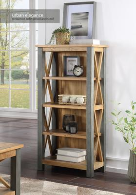 Urban Elegance Small Bookcase Reclaimed Wood and Aluminium