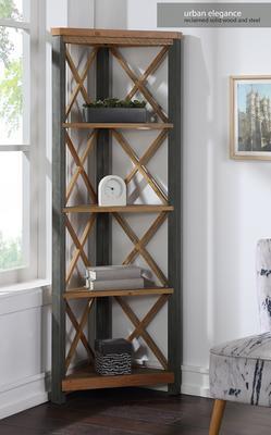Urban Elegance Large Corner Bookcase Reclaimed Wood and Aluminium