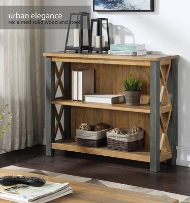 Urban Elegance Low Bookcase Reclaimed Wood and Aluminium