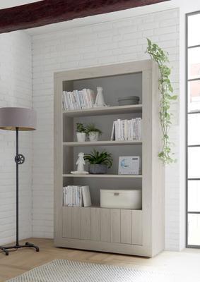 Como Two Door/Four Shelf Bookcase - Light Oak Finish