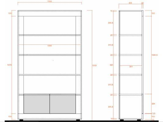 Como Two Door/Four Shelf Bookcase - Light Oak Finish image 2