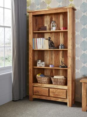 Acacia Solid Wall Tall Bookcase 4 Shelves 2 Drawers