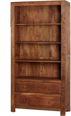Alwar Mango Light Solid Wood Large Bookcase with Drawers