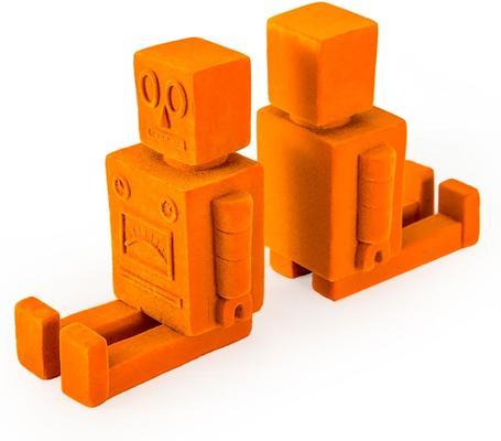 Robot Bookends - Orange Flock