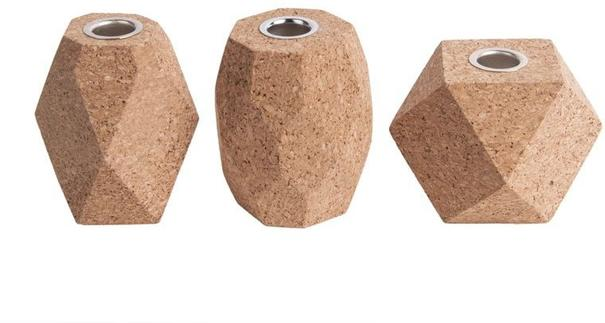 Present Time Hexagon Cork Candle Holders - Set of 3 [D]