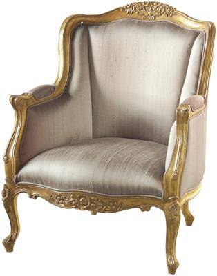 Gold French Chair Wing Sides with High Arms