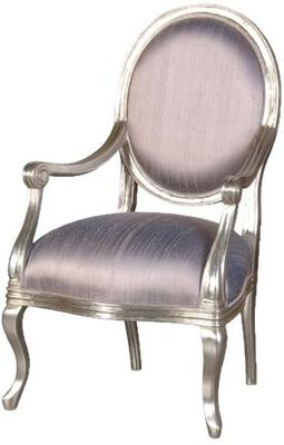 French Silver Armchair with Lilac Upholstery