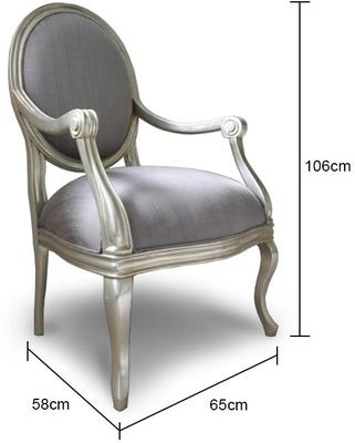 French Silver Armchair with Lilac Upholstery image 2