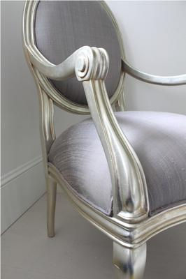 French Silver Armchair with Lilac Upholstery image 3