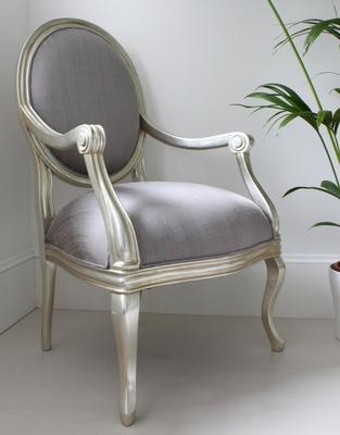 French Silver Armchair with Lilac Upholstery image 5