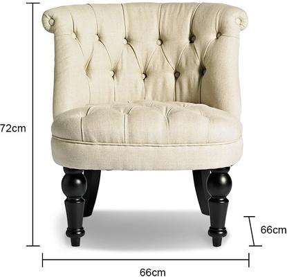 Roll Top Button Back Chair - Rose Pink or Beige image 2