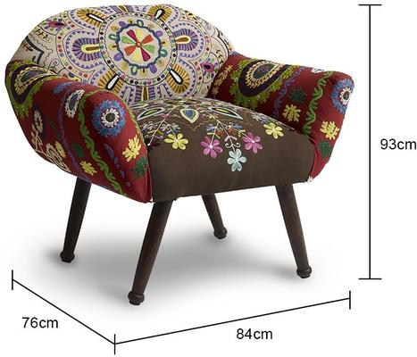 Low Back Ethnic Embroidered Chair image 2