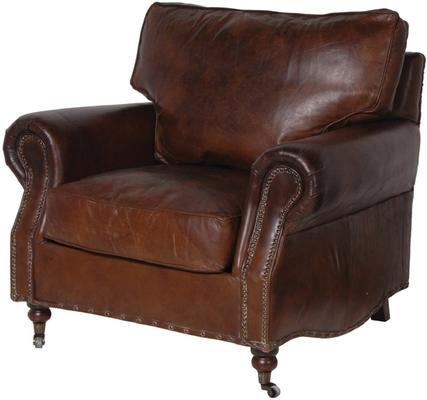 Crumple Brown Leather Armchair