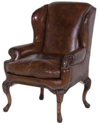 Vintage Brown Leather Armchair Hardwood Frame