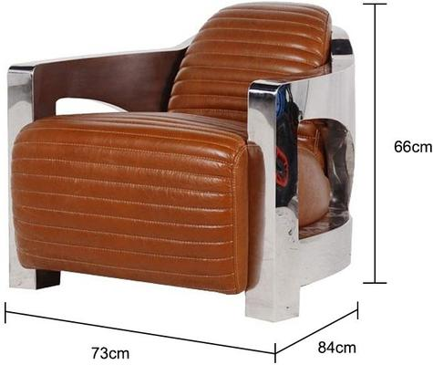 Brown Leather Club Chair with Aluminium Frame image 2