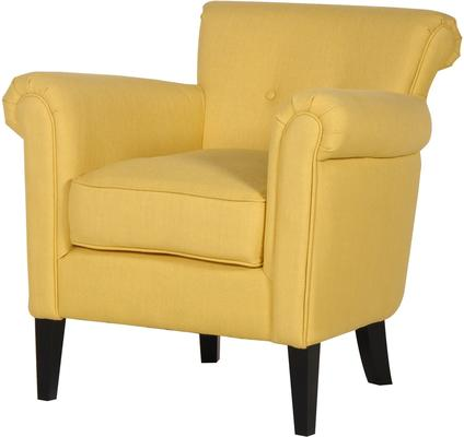 Yellow Arm Chair Linen Upholstered with Dark Wooden Legs