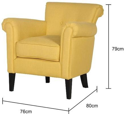 Yellow Arm Chair Linen Upholstered with Dark Wooden Legs image 2