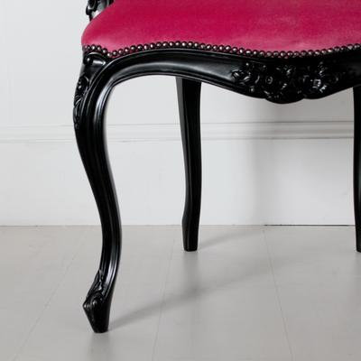French Chair Rose Pink Upholstery with Black Carved Arms image 2