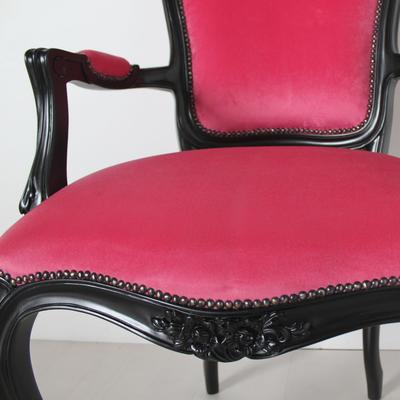 French Chair Rose Pink Upholstery with Black Carved Arms image 3